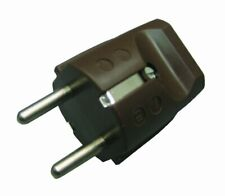 Kunststoff-Schutzkontakt-Stecker mit Wippenschalter Beleuchtet 2-polig braun