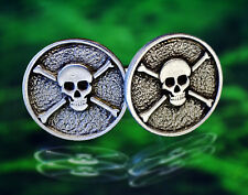 Skull and Bones Cuff Links Pirate Jolly Roger Jewelry in Fine Pewter Made in USA