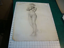 vintage Drawing: early 1900's-NUDE YOUNG LADY no face- aprox 18 x 24""