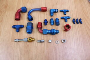 Russell Hose End fittings and Connectors Red and Blue Miscellaneous Sizes 8-14