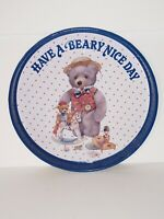 Vintage Have a Beary Nice Day Bear Tin Metal Tray Circular Holiday Giordano