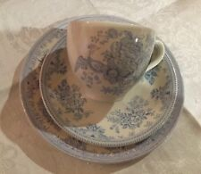 "Burleigh ""Asiatic Pheasants""Cup,Saucer & Plate. Blue & White.Made In England"