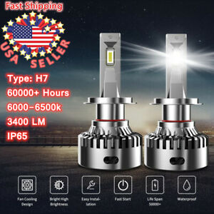 Pair H7 35W 3400LM LED Headlight Kit High Low Beam Light Bulbs Fog Lights 6000K