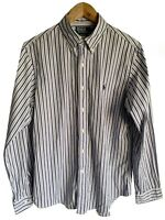 Mens Ralph Lauren polo Long Sleeve Blue Purple  stripe Size Large Custom Fit