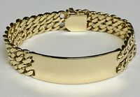 "14k Solid Yellow Gold Men's ID Curb Link  Bracelet 16 mm 82 grams 9.5"""