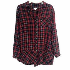 J Jill Tunic Top Sz Med Red Black Buffalo Plaid Cotton Long Sleeve Button Down