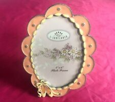 Art Deco Pink Picture Frame,Decorative Crystals Enameled Fancy Metal - Nice!!!