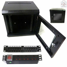 "10"" 6U Black Wall Cabinet + C5e Patch Panel, PDU + Ring Bar, 300mm Data Rack LAN"
