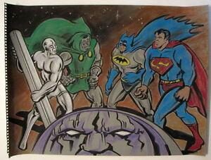 BATMAN SUPERMAN w DR DOOM SILVER SURFER Original PASTEL DRAWING Artist Bennett