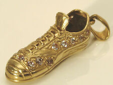 A FINE VINTAGE 9CT YELLOW GOLD FOOTBALL RUGBY BOOT with CZs CHARM PENDANT