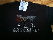 Girls Night Out Sparkly Drinking Tee-Shirt, Black, S ~ NWT