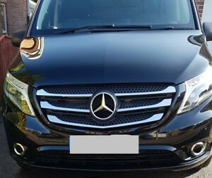 MERCEDES BENZ VITO W447 CHROME FRONT GRILL TRIM COVER 5 PCS 2014 ONWARDS S.STEEL