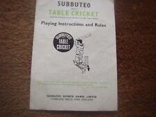 SUBBUTEO Cricket accessori ricambi-gioco con istruzioni/regole