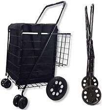 Double Basket Folding Grocery Shopping Cart Black With Swivel Wheels Amp Liner