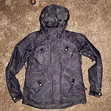 Oakley Womens Ski Snowboard Jacket Coat Black Silver Lurex Medium Loose Fit