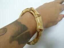 Bracelet bangle épais bois bambou bamboo anneau tiki hawaii hula pinup retro