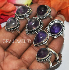 Amethyst Gemstone 5pcs Ring Wholesale Lot 925 Sterling Silver Overlay WHR-9