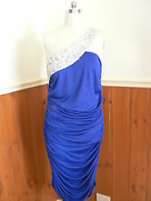 EVER PRETTY  LADIES SIZE 18 SEXY DRESS SIDE GATHERED RUCHED BLUE BLING SEQUINS