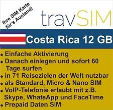 Costa Rica Daten SIM Karte 12 GB für 60 Tage Standard/Micro/Nano