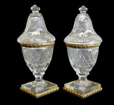 Fine Pair of French Cut Crystal Art Glass & Gilt Bronze Vanity Jars, circa 1900