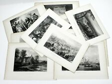 10 Antique Steel Engravings Art Print Resale Wholesale Lot #4 1870's Famous Art