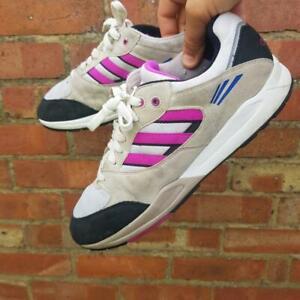 Adidas Tech Super Nubuck Nylon Trainers White Pink Black UK 10 EUR 44.5 Q20307