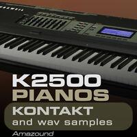 KURZWEIL K2500 K2600 PIANOS for KONTAKT 35 NKI 728 WAV SAMPLES 24BIT MAC PC MPC