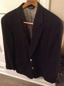 Bullock & Jones San Francisco Vintage 100% Cashmere Navy Sport Coat Blazer 42R