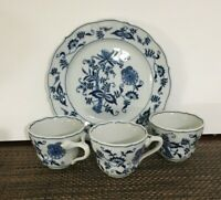 4 Piece Blue Danube Set of 3 Tea Cups, and 1 plate. [ a-7]