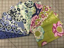 OOP Sandi Henderson Secret Garden Fabric Fat Quarter Bundle in Green and Blue