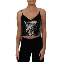 Aqua Womens Crop Sequined Party Camisole Top Shirt BHFO 4465
