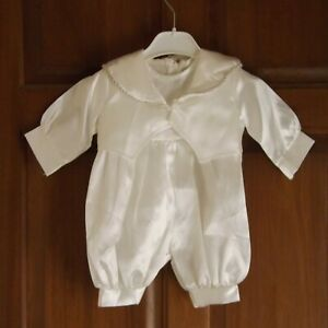 Vivaki, Boys white christening rompers and tails, age 0 to 6 months, NWT