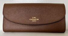 Coach F54009 Wallet Slim Envelope Crossgrain Leather Saddle 2