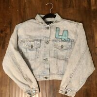 Vtg 90s LA GEAR Cropped Women Sequin Sport Car Denim Jean Jacket Coat M-L