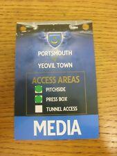 29/12/2012 Ticket: Portsmouth v Yoevil Town [Media Pass] . Thanks for viewing th