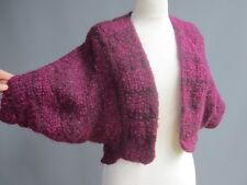 Jeanne Scannell Vtg 70s 80s Plum Hand Knit Crop Sweater Jacket Luxury Mohair S M