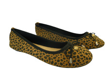Womens Animal Print Shoes Size 5 Wide Fit Flat Ballerina Bow Pumps Low Heel NEW