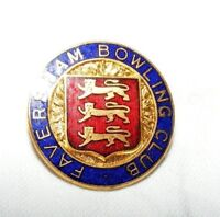 VINTAGE ENAMEL FAVERSHAM BOWLING CLUB BROOCH / BADGE / PIN