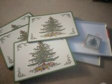 Pimpernel Christmas Tree Holiday Place mats and Coasters NIB Set Spode