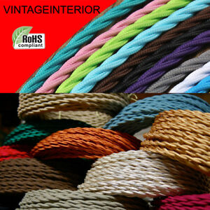 3Core Twisted Fabric Braided  Electric Cable Flex Vintage Lamp Multi Colours UK