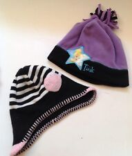Winter Hat Lot of 2 Toddler Girls Tinker Bell and Heart