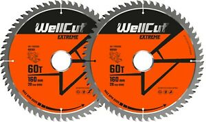 2 x WellCut Plunge Saw Blade 160mm x 60T x 20mm Suitable For Festool TS55 HK55