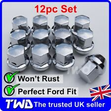 12x ALLOY WHEEL NUTS FOR FORD (M12x1.5) CHROME TAPERED SEAT 19MM HEX BOLT [12N]