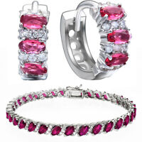 Lab Created Ruby Cubic Zirconia CZ Hoops Earrings Tennis Bracelet 7'' Set