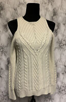 LC Lauren Conrad Size S Ivory Beaded Cold Shoulder Cable-Knit Pullover Sweater