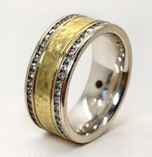 Roberto Coin 18K White & Yellow Gold 1.15Ct Diamond Two Row Hammered Ring Unisex