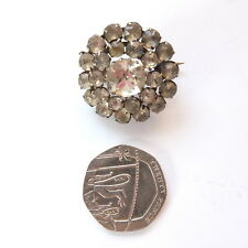Lovely Antique Victorian Diamond Paste Round Metal Brooch