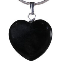 Onyx Black Heart Amulet Heart Pendant Gemstone with Silver-Plated Eyelet