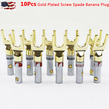 10 pcs Gold Plated Screw Spade Banana Plugs Audio Adapter 4mm Speaker Wire Cable