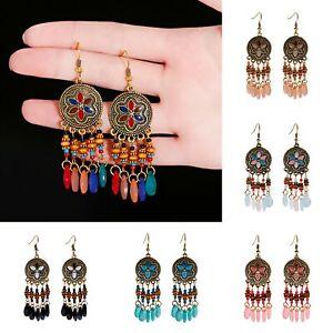 Vintage Ethnic Tassel Bohemian Hook Drop Dangle Earring Jewelry for Womens
